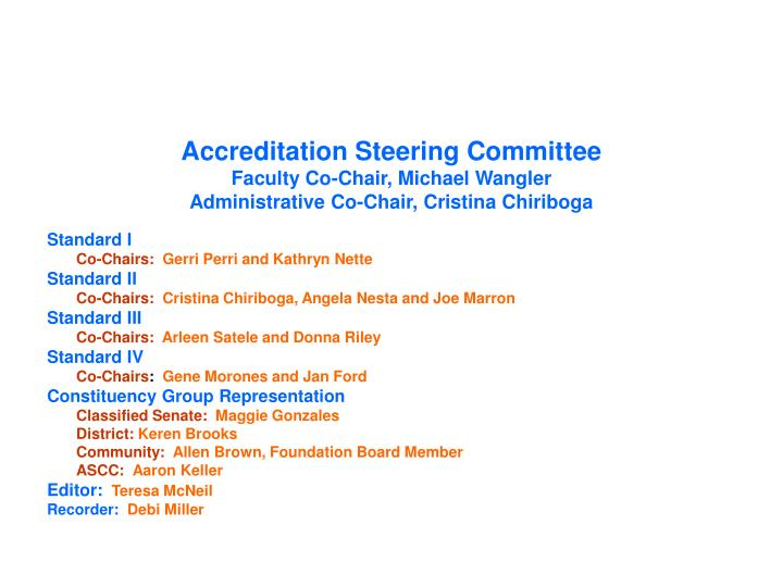 Accreditation Steering Committee