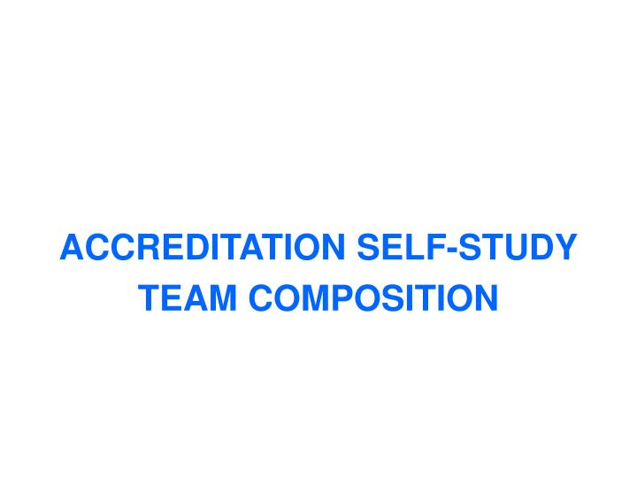 ACCREDITATION SELF-STUDY