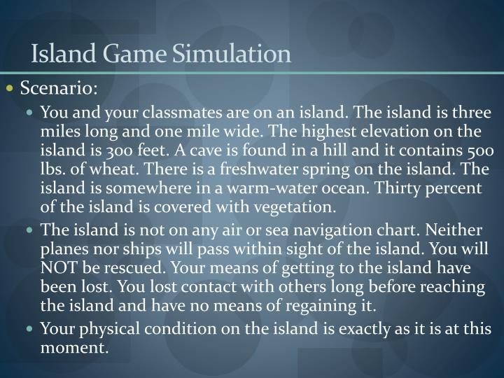 Island Game Simulation
