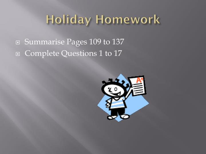 Holiday Homework