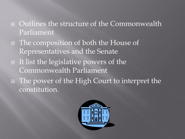 Outlines the structure of the Commonwealth Parliament