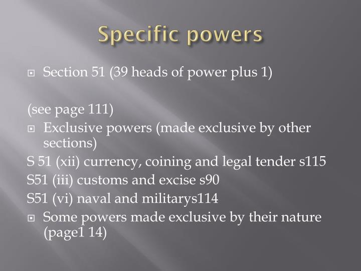 Specific powers