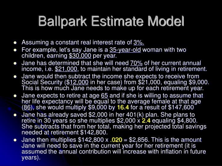 Ballpark Estimate Model