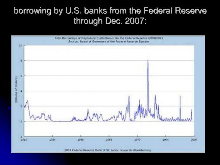 borrowing by U.S. banks from the Federal Reserve through Dec. 2007: