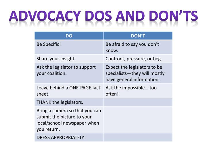 Advocacy Dos and Don'ts