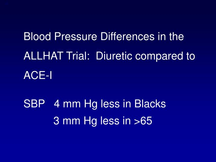 Blood Pressure Differences in the ALLHAT Trial:  Diuretic compared to ACE-I