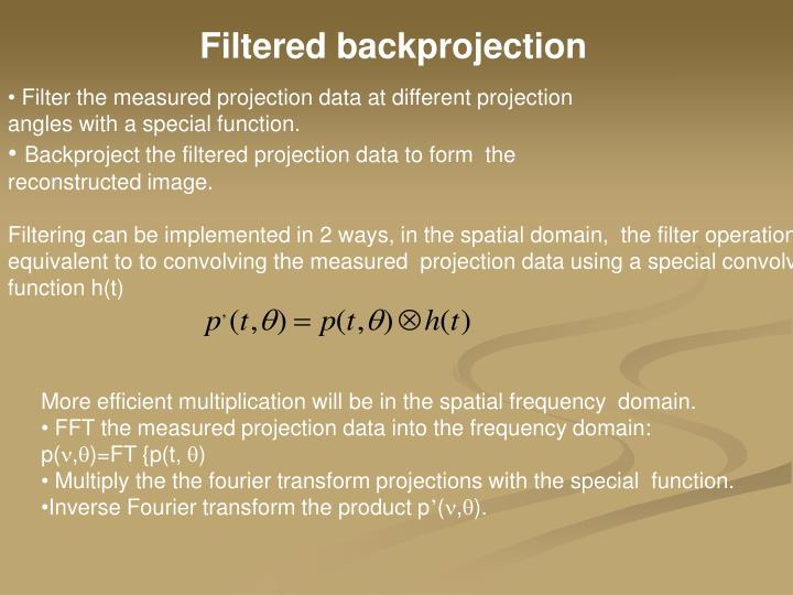 Filtered backprojection