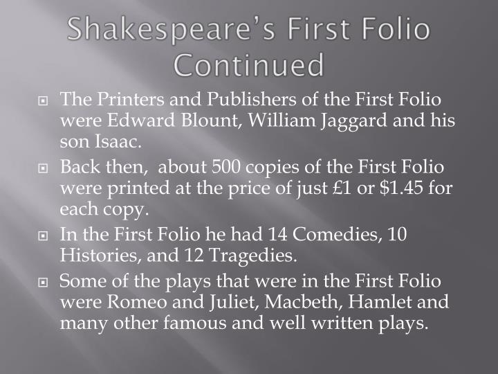 Shakespeare's First Folio Continued