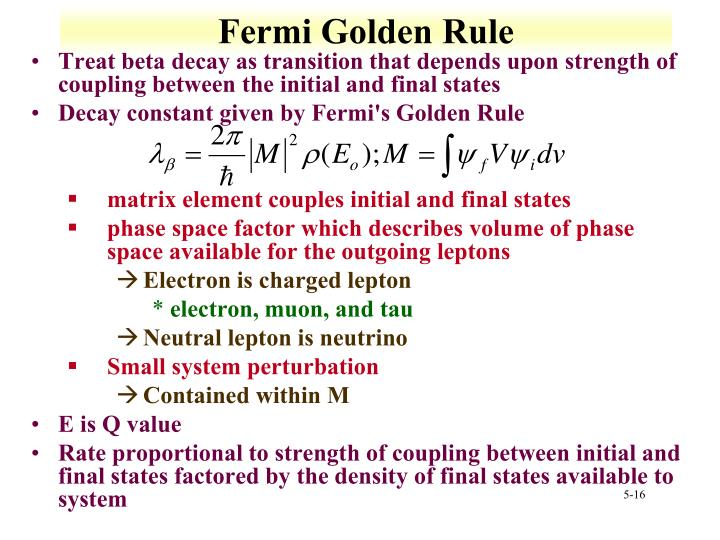 Fermi Golden Rule