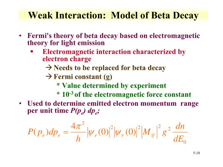 Weak Interaction:  Model of Beta Decay