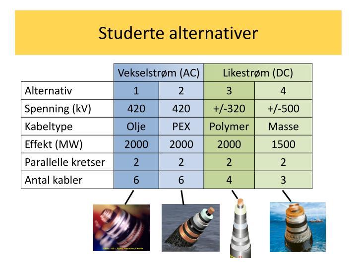 Studerte alternativer