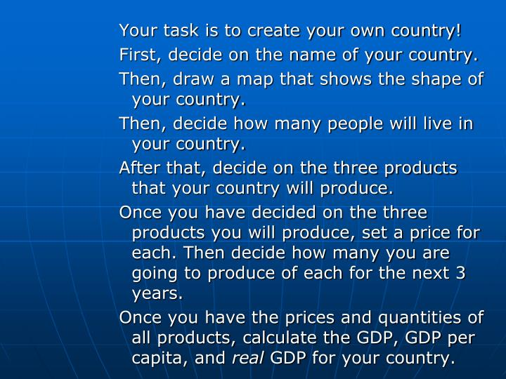Your task is to create your own country!