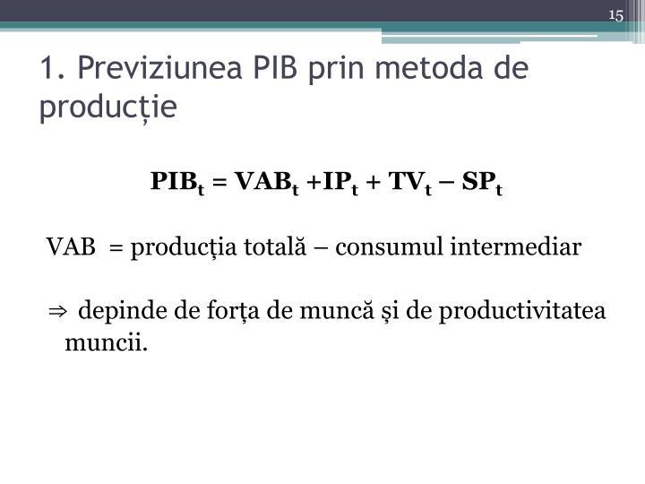 1. Previziunea PIB prin metoda de producție