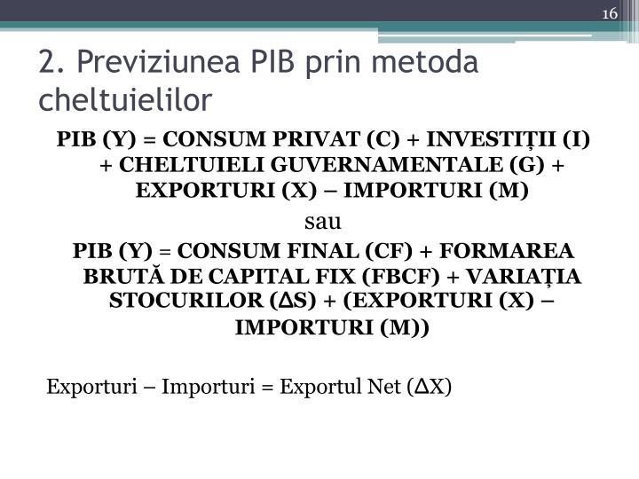 2. Previziunea PIB prin metoda cheltuielilor