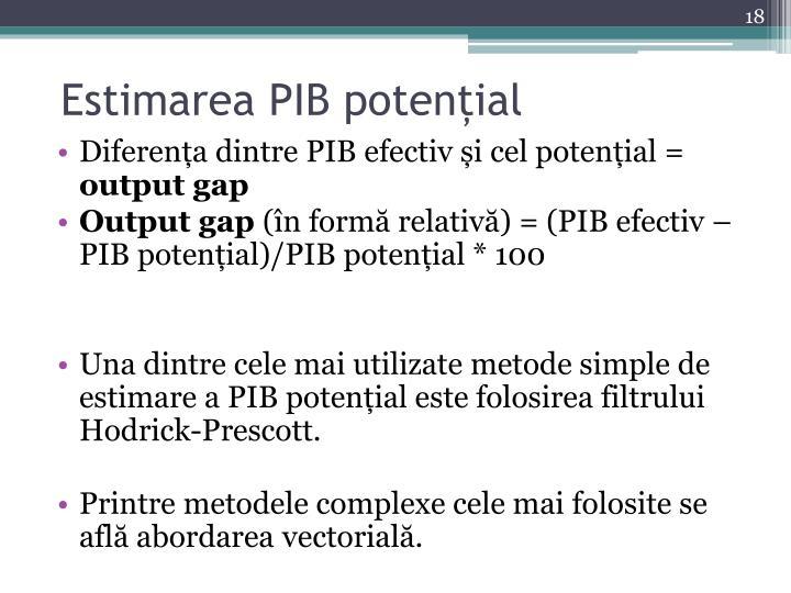 Estimarea PIB potențial