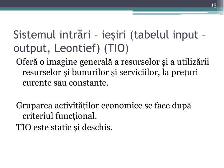 Sistemul intrări – ieșiri (tabelul input – output, Leontief) (TIO)