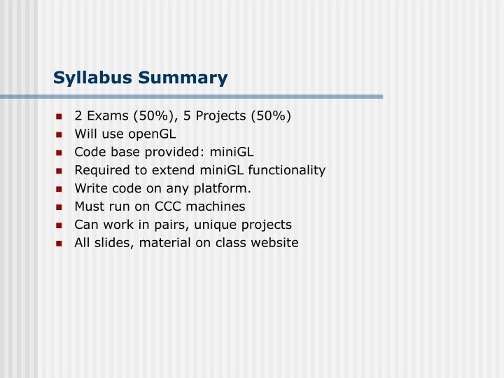 Syllabus Summary