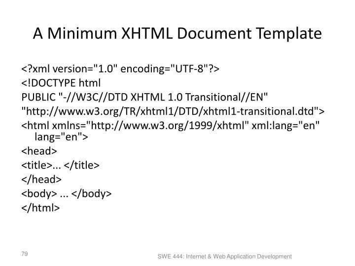 A Minimum XHTML Document Template