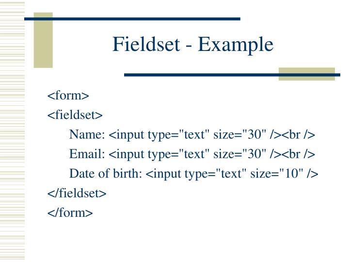 Fieldset - Example