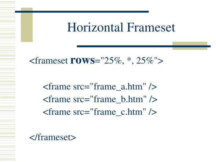 Horizontal Frameset