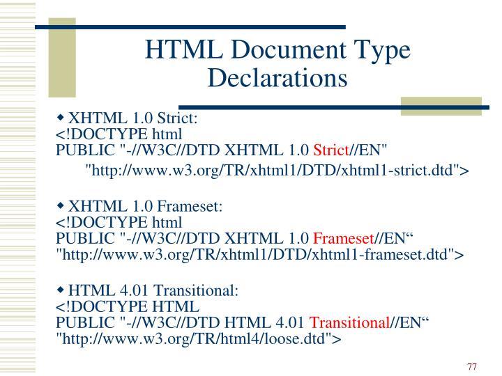HTML Document Type Declarations
