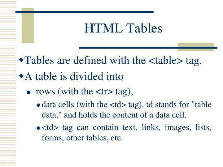 HTMLTables