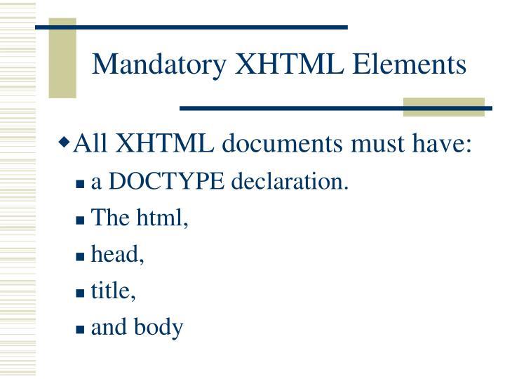Mandatory XHTML Elements