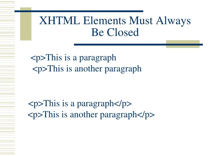 XHTML Elements Must Always Be Closed