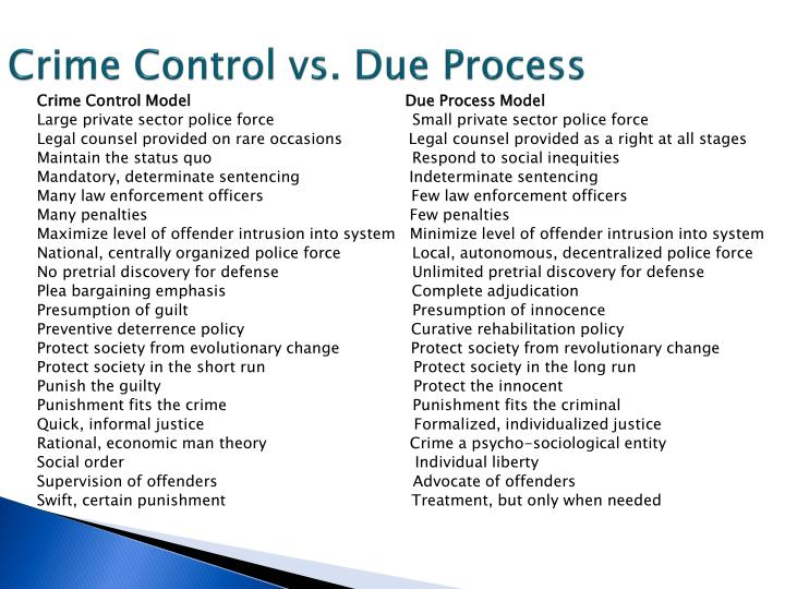 Crime Control vs. Due Process