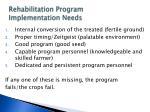 rehabilitation program implementation needs