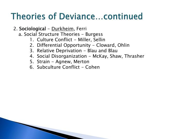 Theories of Deviance…continued