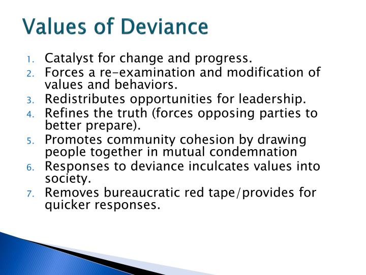 Values of Deviance