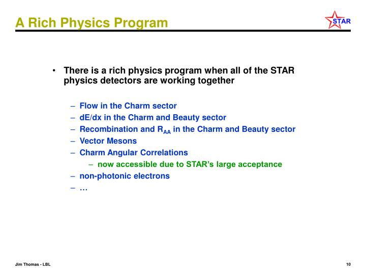 A Rich Physics Program