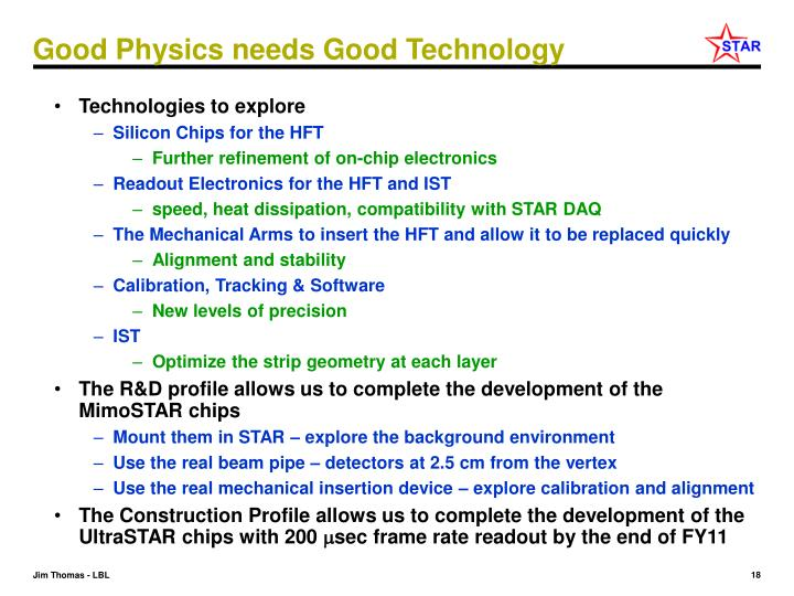 Good Physics needs Good Technology