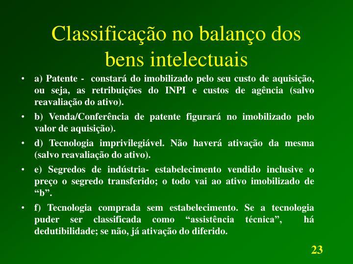 Classificação no balanço dos bens intelectuais