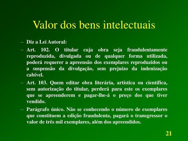 Valor dos bens intelectuais