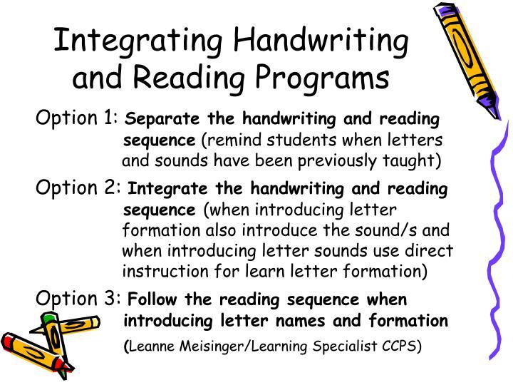 Integrating Handwriting and Reading Programs