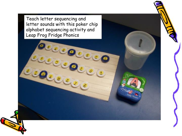 Teach letter sequencing and letter sounds with this poker chip alphabet sequencing activity