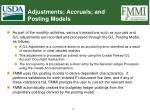 adjustments accruals and posting models