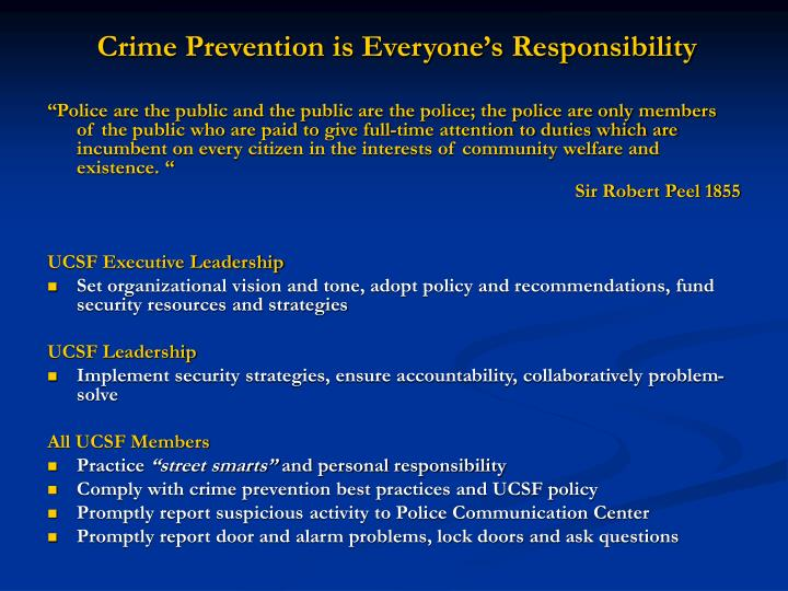 Crime Prevention is Everyone's Responsibility