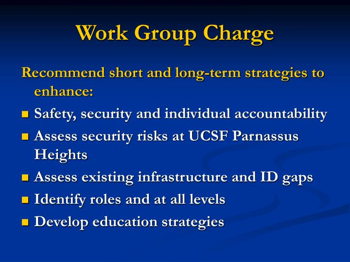 Work group charge
