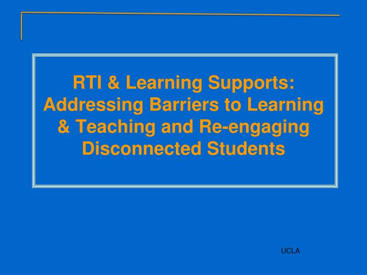 RTI & Learning Supports: