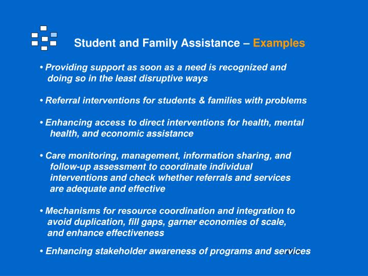 Student and Family Assistance –