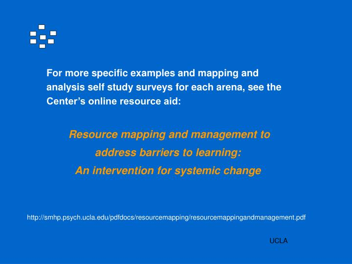 For more specific examples and mapping and analysis self study surveys for each arena, see the Center's online resource aid: