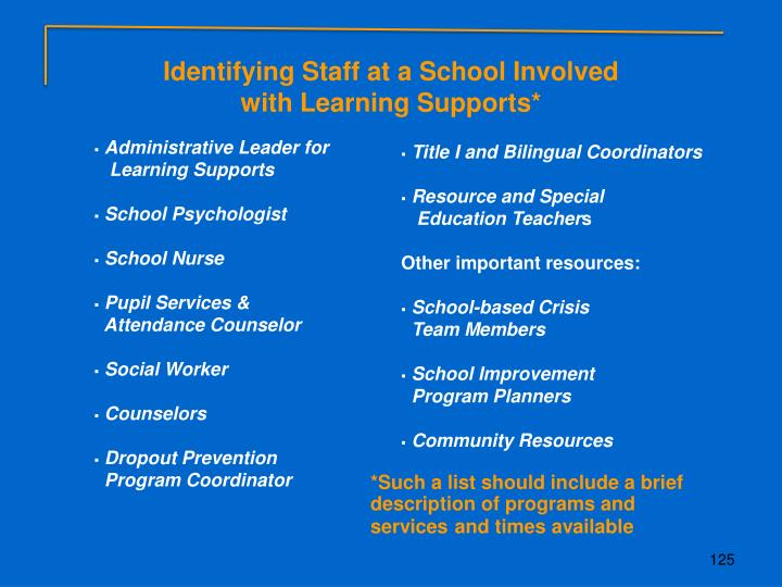 Identifying Staff at a School Involved