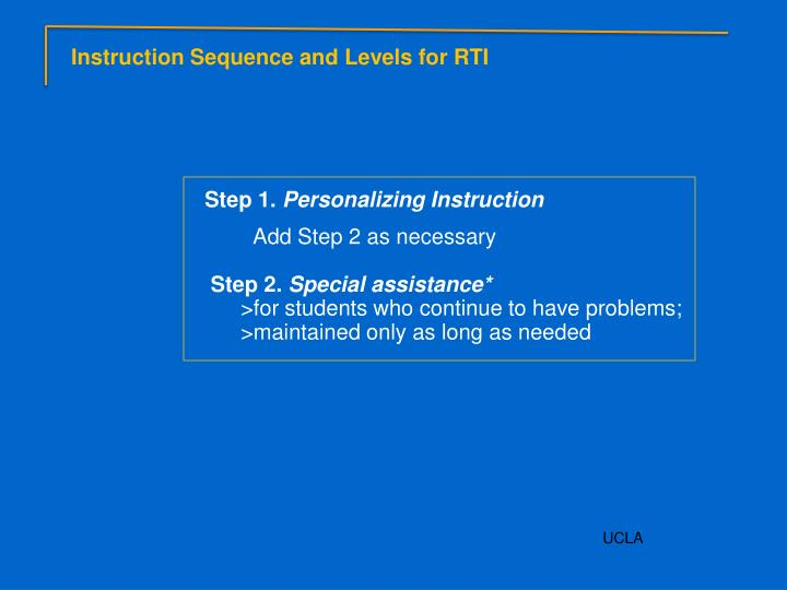 Instruction Sequence and Levels for RTI