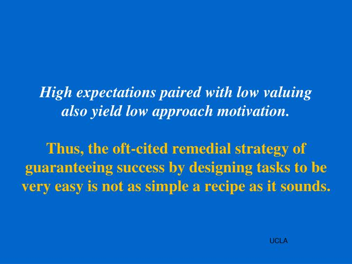High expectations paired with low valuing