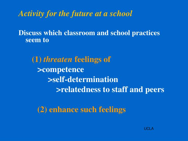 Activity for the future at a school