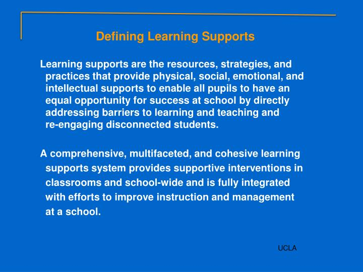 Defining Learning Supports