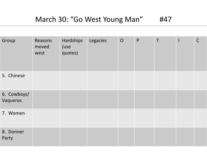 "March 30: ""Go West Young Man""         #47"